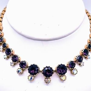 Vtg Purple Rhinestone & Aurora Borealis Necklace
